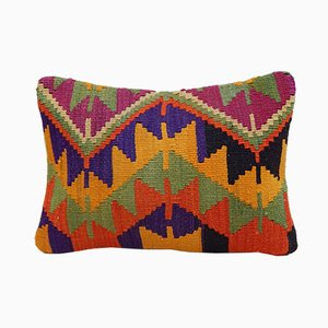 Orange, Green, & Yellow Kilim Lumbar Pillow Cover from Vintage Pillow Store Contemporary