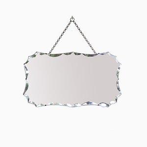 Abgeschrägter Mid-Century Spiegel mit Kette