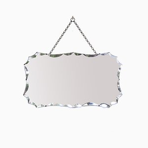 Mid-Century Beveled Mirror with Chain