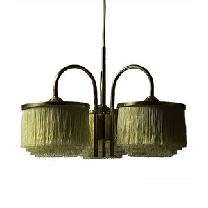 Vintage Swedish Brass & Silk Fringe 3-Armed Pendant Lamp by Hans-Agne Jakobsson