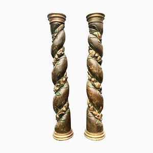 Columnas francesas salomónicas barrocas grandes. Juego de 2