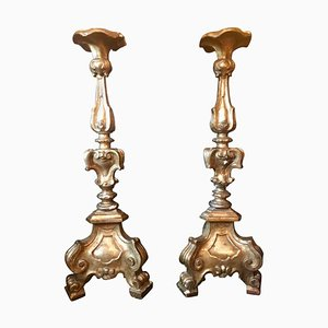 Antique Louis XVI Style Italian Carved Giltwood Torcheres, Set of 2