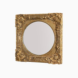 Antique English Gilt Gesso Square Wall Mirror, 1870s