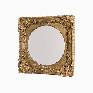 Antique English Gilt Gesso Square Wall Mirror, 1870s