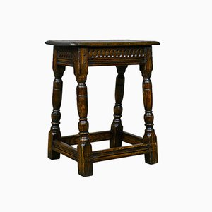 Antique English Oak Jacobean Revival Joint Stool, 1900s