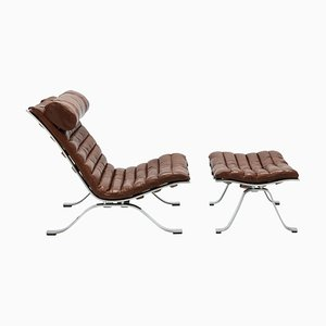 Brown Leather Ari Lounge Chair & Ottoman Set by Arne Norell, 1970s