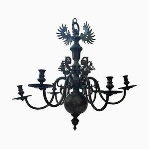 Lámpara de araña barroca de bronce con seis brazos