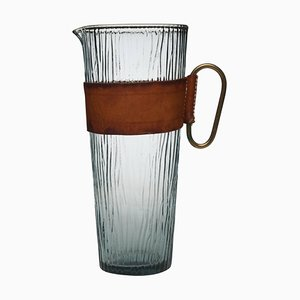 Brass & Leather Collar Glass Pitcher by Carl Aubock, 1960s