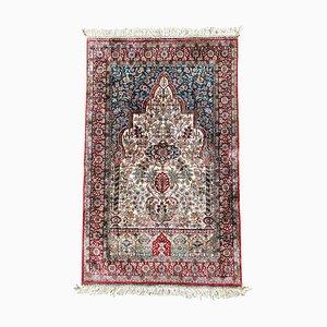 Alfombra de oración turca vintage de seda