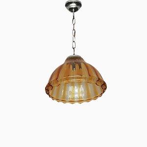 Lampada da soffitto in vetro di Murano e metallo argentato, anni '40