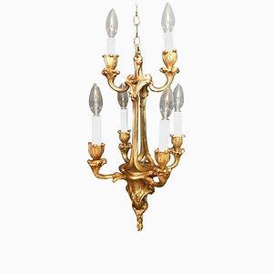 Lámpara de araña francesa estilo Luis XV antigua de bronce dorado