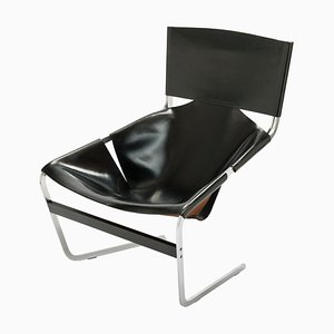 Black Leather F-444 Lounge Chair by Pierre Paulin for Artifort, 1965