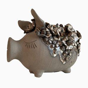Sparschwein aus Keramik von Flemming Ross, 1970er