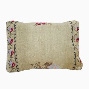 Floral Needlepoint Kilim Lumbar Pillow Cover from Vintage Pillow Store Contemporary