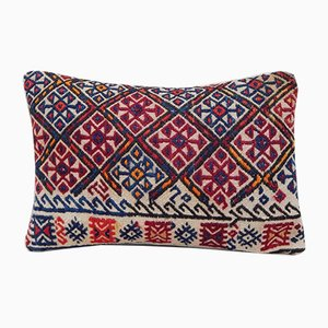 Patterned Wool Handwoven Kilim Pillow Cover from Vintage Pillow Store Contemporary
