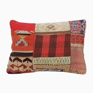 Funda de cojín Kilim grande de patchwork tejida a mano de Vintage Pillow Store Contemporary