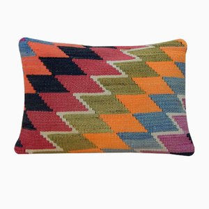 Large Handmade Pale Kilim Lumbar Throw Pillow Cover from Vintage Pillow Store Contemporary