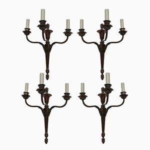 Vintage Neo-Classical Style Bronzed Three Branch Sconces, Set of 4