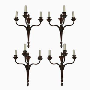 Vintage Wandleuchten im neoklassizistischen Stil mit drei bronzierten Leuchten, 4er Set