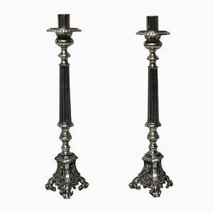 Versilberte Kerzenständer, 1800er, 2er Set