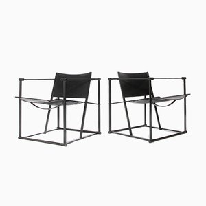 Leather and Metal FM61 Armchairs by Radboud Van Beekum for Pastoe, 1980s, Set of 2