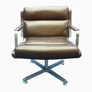 Mid-Century French Leather Stainless Steel Conference Chair, 1960s