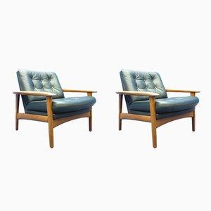 Dänische Stühle aus Teak & Leder, 1960er, 2er Set