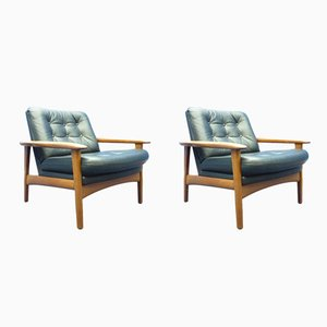 Vintage Danish Teak Leather Chairs, Set of 2