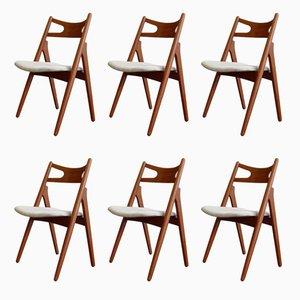 CH29 Sawbuck Stühle aus Teak von Hans J. Wegner für Carl Hansen & Søn, 1950er, 6er Set