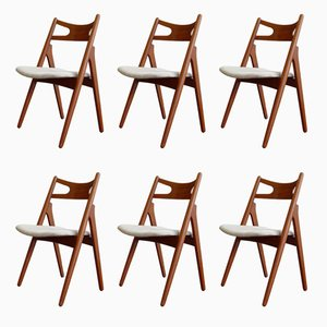 CH29 Teak Sawbuck Chairs by Hans J. Wegner for Carl Hansen & Søn, 1950s, Set of 6