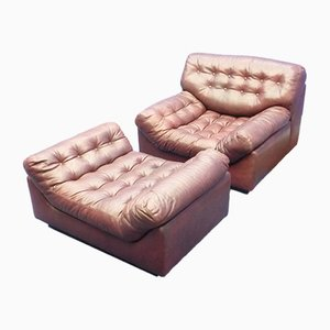 Mid-Century Leather Lounge Chair and Ottoman Set, 1960s