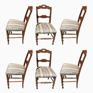 Antique Louis XV Style Cherry Dining Chairs, Set of 6