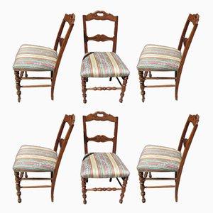 Chaises de Salle à Manger Style Louis XV Antiques en Merisier, Set de 6