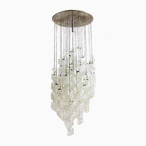 Lámpara de araña italiana de cristal de Murano de Zero Quattro, años 70