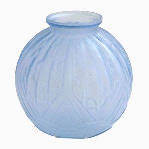 Grand Vase Art Déco en Verre Givré Bleu