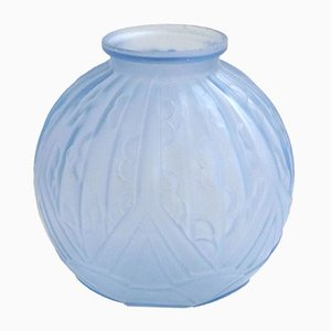 Large Art Deco Frosted Blue Glass Vase
