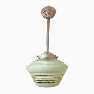 Lámpara de suspensión de vidrio verde, años 60