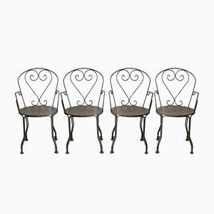 Gartenstühle aus Schmiedeeisen, 1960er, 4er Set