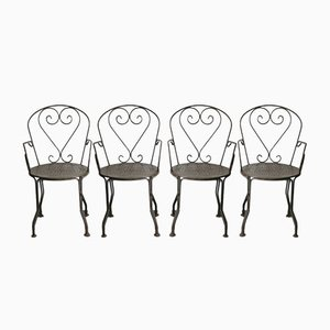Wrought Iron Garden Armchairs, 1960s, Set of 4