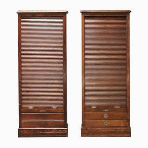Antique Tambour Front Cabinets, Set of 2