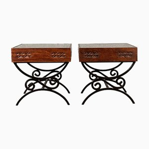 Vintage Carved Teak & Glass Side Tables, Set of 2