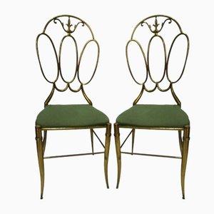 Vintage Stühle mit Messinggestell, 2er Set