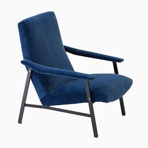 Butaca italiana de terciopelo azul y hierro negro, años 50