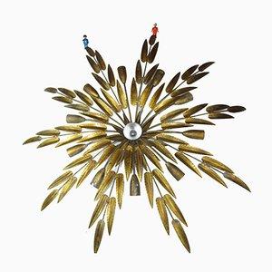 Lampada da soffitto grande in ferro dorato di Ferro Art, anni '50