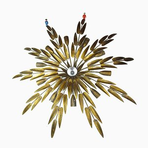 Large Golden Iron Palm Ceiling Lamp from Ferro Art, 1950s