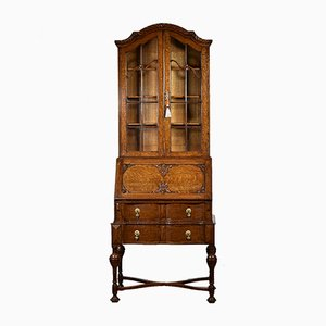 Oak Bookcase or Desk with Fitted Interior, 1920s