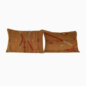 Turkish Bohemian Handwoven Wool Kilim Pillow Covers from Vintage Pillow Store Contemporary, Set of 2