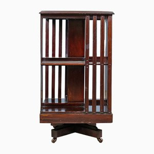 Antique English Walnut Edwardian Revolving Bookcase, 1910s