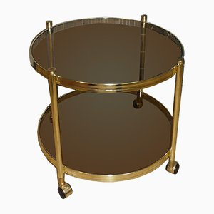 Round Brass & Smoked Glass Tea Cart, 1960s