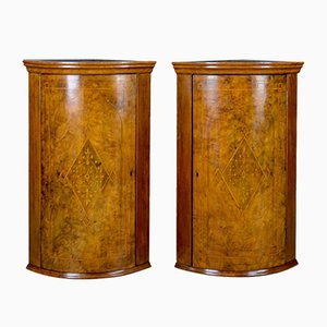 Antique Engish Burr Walnut Georgian Revival Corner Cabinets, 1910s, Set of 2
